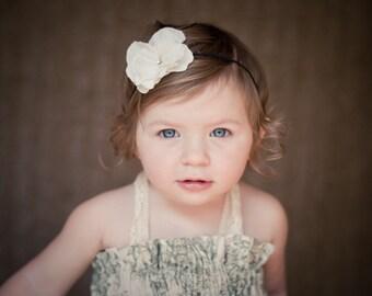 Small Ivory flower headband, Baby Headband, Newborn headbands, Flower Girl Headbands, Baptism, Christening