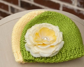 Flower Beanie Hat Set for Newborn Baby, baby hat, Green and Yellow Crocheted Hat, detachable Yellow Flower, PHOTOGRAPHY