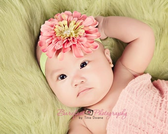 Pink and Lime Green Spring Flower Headband on soft elastic headband perfect for NEWBORNs to all ages