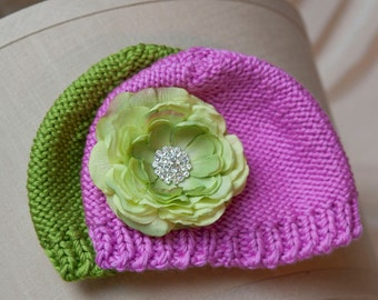Newborn Hat Set, newborn flower hat, pink hat, green hat, flower clip,  PHOTOGRAPHY PROPS, Baby Gift, Baby 0-6mnts.