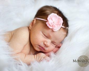 Pink flower headband, baby headbands, Newborn Headband, Skinny Elastic, baptism headband, christening headband