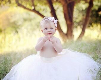 Baby tutu, wedding tutus, Flower Girl Dress, Sewn tutus, Ivory tutu, Vintage Soft Pink tutu for flower girls