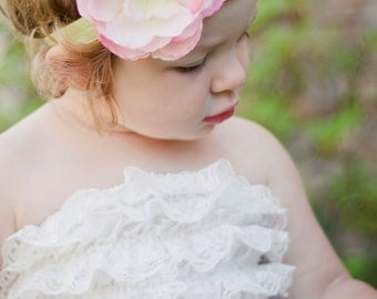 Lime Green Soft Elastic Headband with Light Pink Flower and Swarovski Crystals Newborn, Infant, Baby, Toddler, Girl
