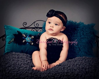 Black lace headband with black satin flower and rhinestone center. Newborn, Baby, Infant, Toddler, Girl, Teen, Adult Photo Prop