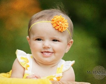 Orange flower headband for newborn photography props baby headbands with yellow skinny stretch elastic
