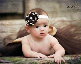 shabby chic brown baby headbands, newborn headbands, newborn photography props