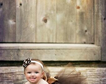 Chocolate Brown Baby Tutu, pink baby tutu, Gold Copper Sash, newborn tutu