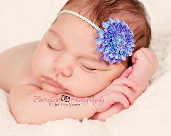 baby headband, small flower headband, skinny elastic, purple blue flower, photography props