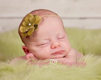 Green Small Flower, baby headband, newborn headband, Skinny Ivory Elastic Headband. Newborn to Adult Photography Props, Flower Girls