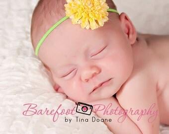 Yellow baby headband, small infant headband, newborn head band
