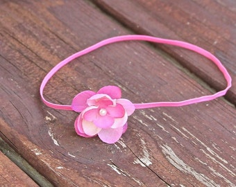 Dainty vintage pink Petite Flower Headband, ivory Pearl and  princess pink Skinny Stretch Elastic. Newborn, Baby, Infant, Toddler, Girl