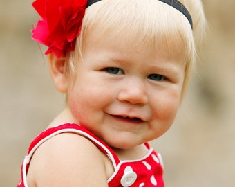 Christmas Red Fabric Flower on Black Soft Elastic Headband. Available sizes NEWBORN to ADULT