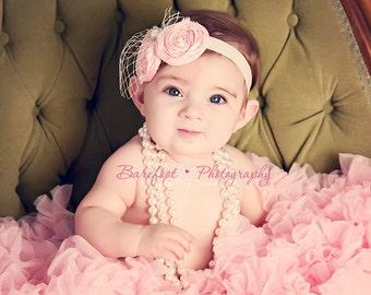 Pink baby headbands, newborn photography props, toddler headband, infant headband, baby headband