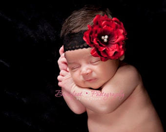 Red Flower Headband on Black Lace Elastic, Newborn Headband, Baby Headband, Crimson Red Small FLower Headband
