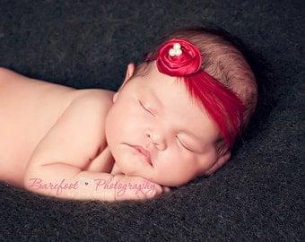 Newborn Headband, Baby Headbands, Crimson Red Small FLower Headband, feather vintage girls headband