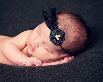 Newborn Headband, Baby Headband, black headband, Feather Headband