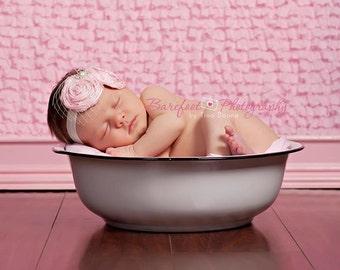 Newborn Headband, Baby Headband, Vintage inspired Headband, pink headband for newborns, fabric headband