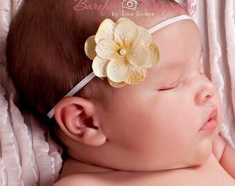 newborn headband, mustard gold yellow small flower headband,  tan flower headband, baby headbands, infant headband, photography props