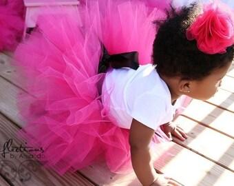 baby tutu, flower girl dress, Hot pink tutu skirt for girls with chocolate brown satin sash