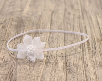 baby headbands, newborn headbands, small white flower headband, small pink flower headband