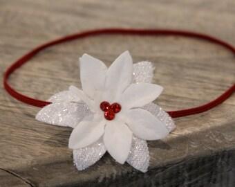 Newborn Headband, Baby Headband, white Small FLower Headband, red small flower headband