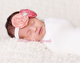 Peach newborn Headband, rose newborn headband, toddler headband, infant headband, headbands for baptism, christening headbands