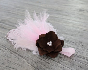 Pink Feather headband, brown flower headband, Pearls on a Elastic White Headband for Newborns Infants Toddlers Girls  Photography Prop