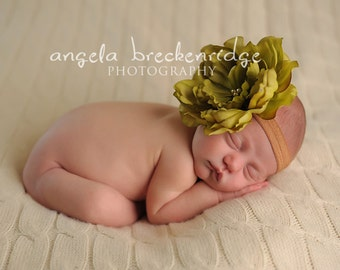 vintage green flower headband, newborn headband, baby headbands, Photography props