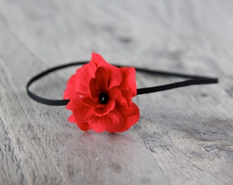 red flower headband, baby headband