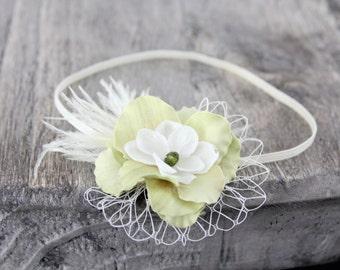 Vintage headband, green small Flower headband, ivory skinny elastic, baby headband, PHOTOGRAPHY Prop