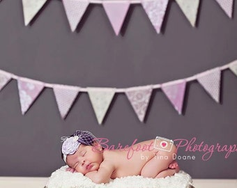 Purple Baby headband, newborn headband, pink headband, vintage headband, Shabby Chic Headband, infant headband, photography props