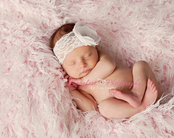baptism headband, christening headband, baby headband, newborn headband, white flower headband,