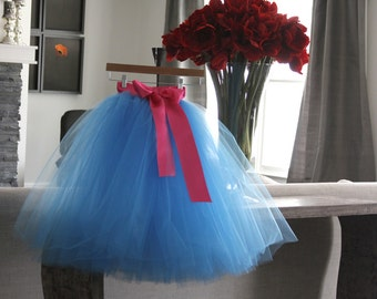Flower Girl Dress,  Birthday tutu, blue tutu with hot pink sash, Sewn Tutus, Chic tutus, couture flower girl dress