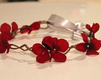 Flower Hair Wreath, red flower wreath, Chic hair wreath, Flower Girls, Photography prop
