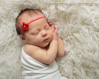 pink baby flower headband, Newborn Headband, Baby Headband, Pink Small FLower Headband