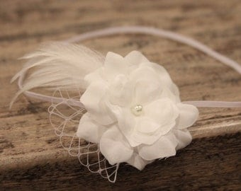 feather baby headbands, white bird cage veil, newborn headbands, off-white flower headband, infant headband, toddler headband, photo prop