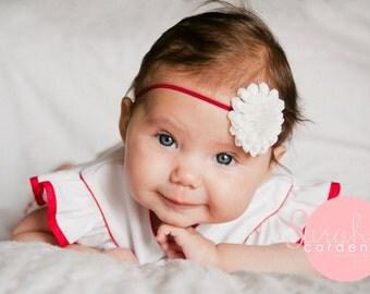 White baby headband, newborn headband, toddler headband, red elastic, White Flower Headband,
