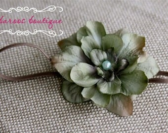Vintage Newborn Headband, Baby headband, turquoise green flower headband, small flower headband