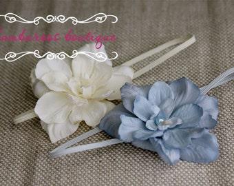 Newborn Headband Set, Baby headband, ivory flower headband, blue flower headband, photography prop, vintage newborn headband