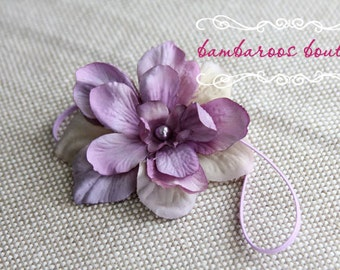 Purple Newborn Headband, Baby headband, lavender flower headband, small flower headband