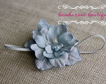 Vintage Blue Newborn Headband, Baby headband, small flower headband, flower girl headband