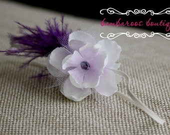 Newborn headband, Feather baby headband, Vintage photography prop, baby headband, purple headband