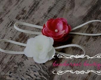 pink baby headband, white small flower headband, baptism headband, christening headband, newborn photography prop, gift set