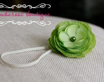 baby headbands, newborn headbands, small green flower headband, infant headband, toddler, teen, adult great photo prop
