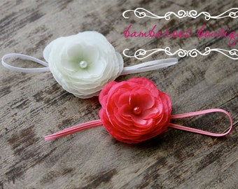 pink flower headband, pink baby headband, white small flower headband, newborn photography prop, gift set