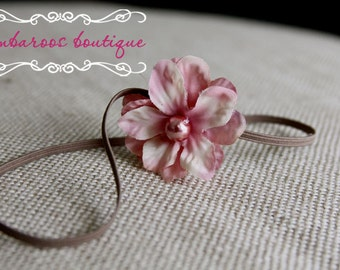 Small Pink  flower headband, baby headbands, Newborn Headband, Skinny Elastic