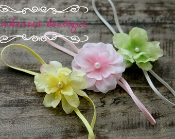 baby starter set, small flower headbands, newborn photography props, yellow pink green