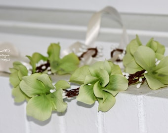 Flower Girl Hair Wreath, Green Flower girl hair accessories, hair wreath, wedding wreath, bridal hair piece