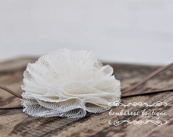vintage baby headband, newborn headbands, small ivory flower headband, infant headband,  photo prop