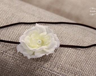 white baby headband, newborn headbands, small flower headband